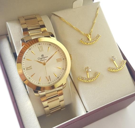 Relógio Champion Feminino Dourado Luxo + Kit Colar Brincos
