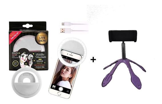 Kit Mini Ring Light + Mini Tripé Para Live Home Office