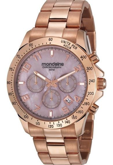 Relógio Mondaine Feminino Rose Cronógrafo Analógico Original