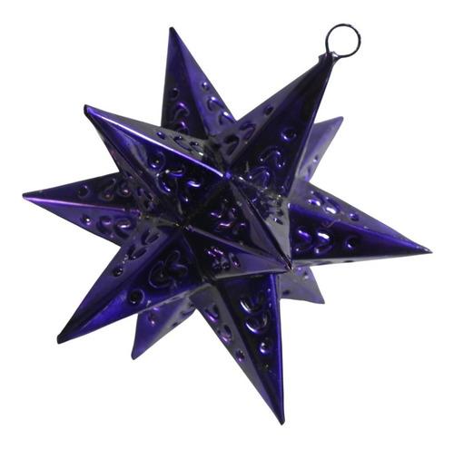 Imagen 1 de 5 de Esferas Navideñas Artesanales, 10  Estrellas De Latón Morado