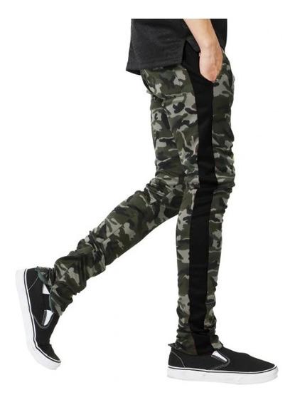 Calça Camuflado Moletom Listrada Jogger Com Zipper Swag