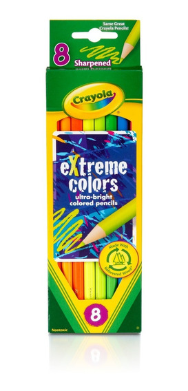 Lápiz Dibujo Neón Largos Crayola T Oficial X8 Colores