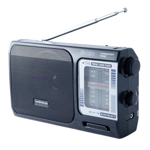 Radio Portatil Am Fm A Pilas Y Electrica Winco W-1231 Manija