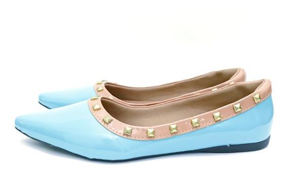 Sapatilha Bico Fino Tachinas Spikes Azul Tiffany Confortavel
