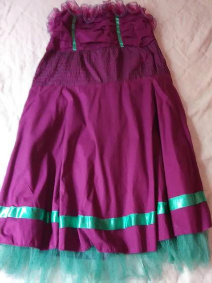 Vestido Juvenil Talla L Morado De Algodon