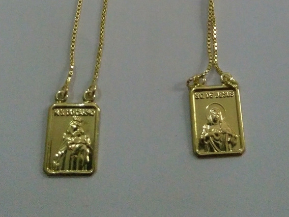 Escapulario Catolico Unisex Banhado A Ouro 18k Com Garantia
