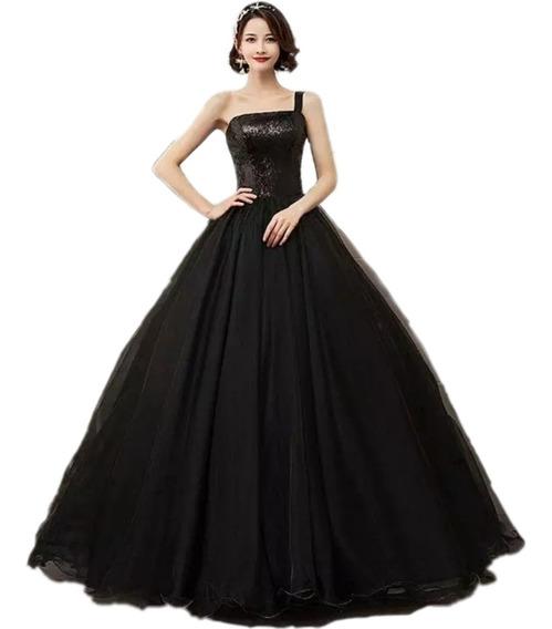 Vestido De Xv Años Negro De Lentejuelas 15 Años Quinceañera