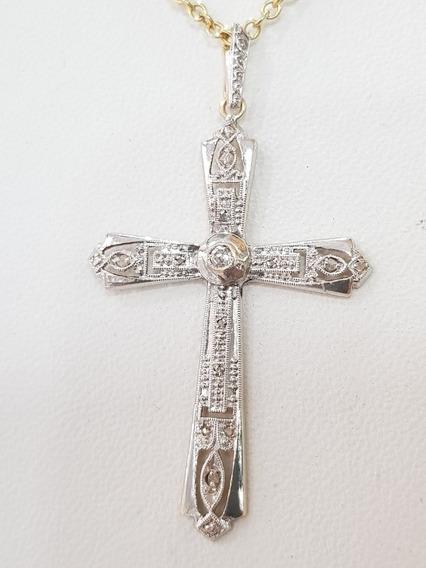 Dije Cruz Oro 18k Diamantes Talla 8/8 1,9grs Brumat