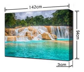 Cuadro Moderno, Cascada Agua Azul Chiapas, 94x142cm