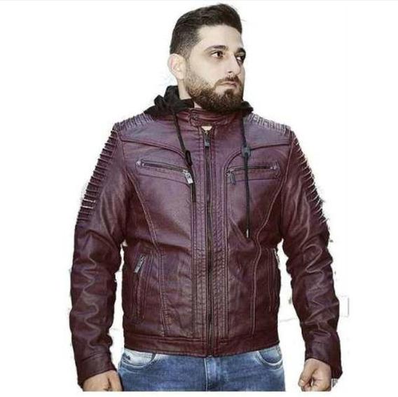 Jaqueta De Couro Masculina Com Capuz De Moletom Casaco Frio