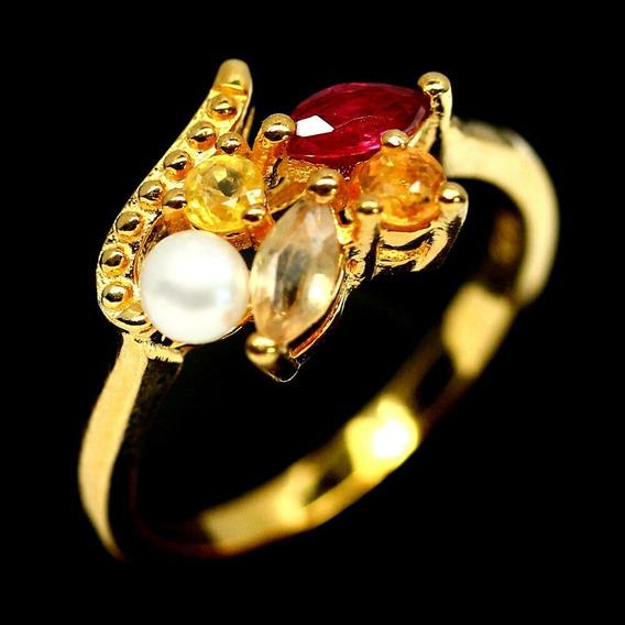Anillo Zafiro Y Perla Talla 7.75 Plata 925 Gema Natural Chapa D Oro Amarillo 16 Kts Ringking