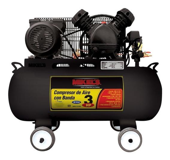 Compresor De Aire 3 Hp 60 Lts Con Banda Mikels Mod. Ca-3hp60