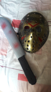 Mascara Jason Viernes 13 + Cuchillo Disfraz Halloween
