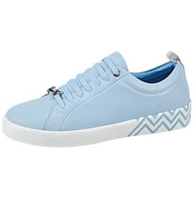 Sneakers Moderno Dama Pop Azul Pastel Detalles Plata 186436