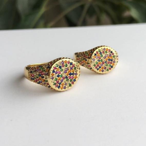 Anillo Arcoiris En Chapa De Oro Y Multi Crconias De Colores