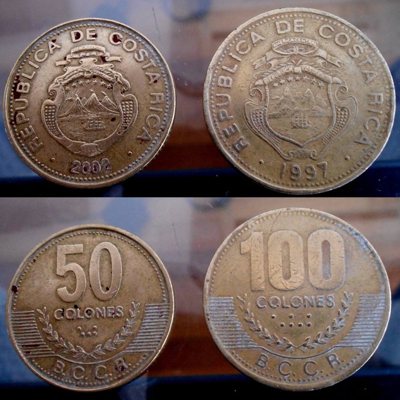 Costa Rica - Set De 2 Monedas 50 Y 100 Colones - Buen Estado