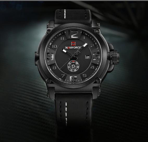 Relógio Masculino Militar Esportivo Naviforce Couro Original