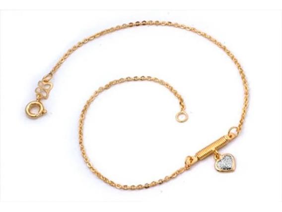 Tornozeleira Rommanel Com Pingente Coração Fol Ouro 550354