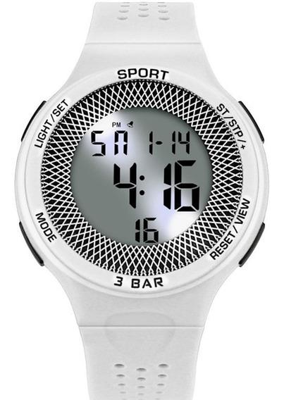 Relógio Feminino Sport Branco Fitness Prova De Água Cronometro Calendário Alarme E Luz