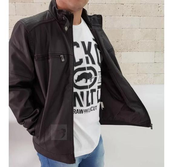 Jaqueta Masculina Couro Pu Corta Vento Blazer Casaco Moto