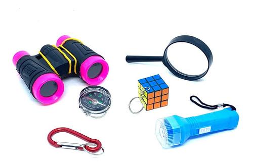 Imagem 1 de 1 de Kit Aventura Binoculo Infantil Rosa 6 Itens