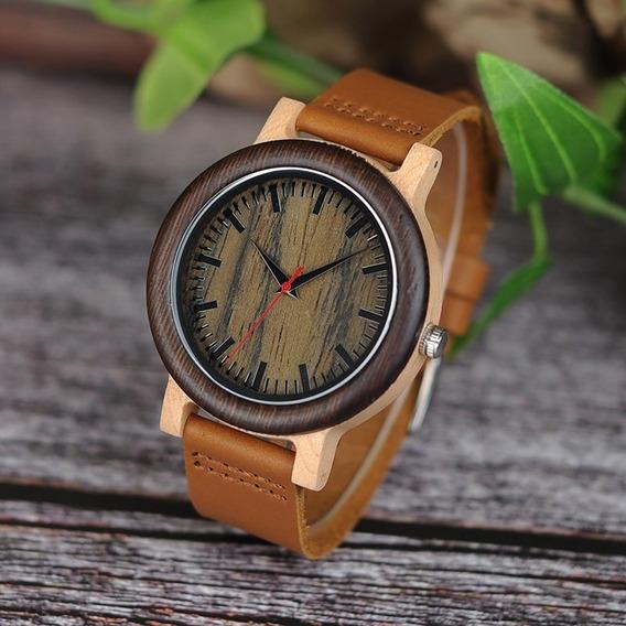 Relógio Unissex Madeira Artesanal Bobo Bird M14a