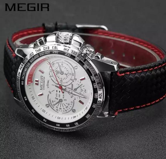 Relógio Masculino Megir Men Quartz Pulseira Couro Promoção