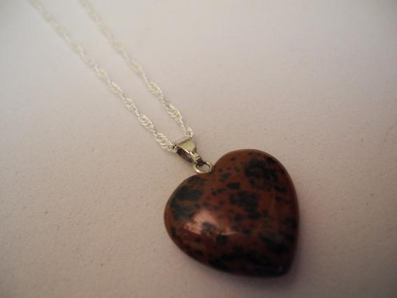 Gargantilha Coração Pedra Natural Colar Pedra Marrom I