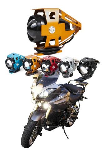 Imagen 1 de 10 de Faro Oro Lupa Led Cree Moto Universal Estrobo U5 125w