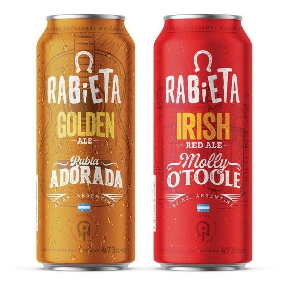 Combo 24 Latas 473cc Cerveza Rabieta Golden Y Red Irish