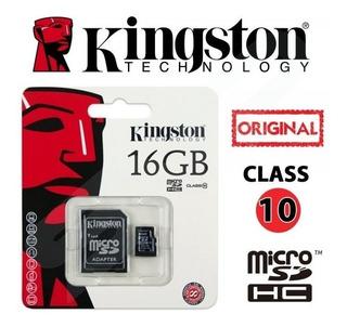 Cartão De Memória Class 10 Kingston 16gb + 1 Adpt.original
