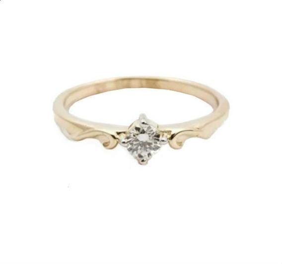 Anel Solitário De Ouro 18k Feminino Noivado Diamante Vivarjoias