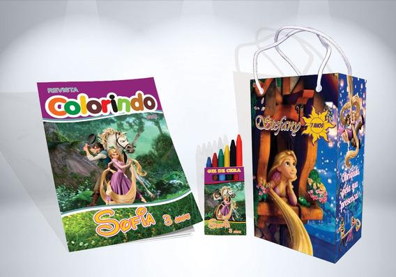 40 Kit Colorir Enrolados Rapunzel Revista Sacola Lembrança