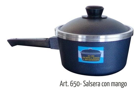 Salsera Eterna Antiadherente Con Tapa Y Mango Madera 3 Lts