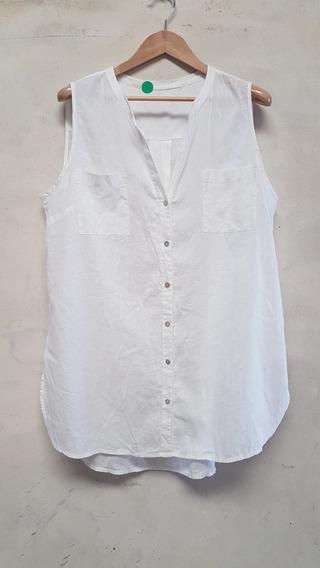 Camisa Son Mangas De Lino Talle Especial