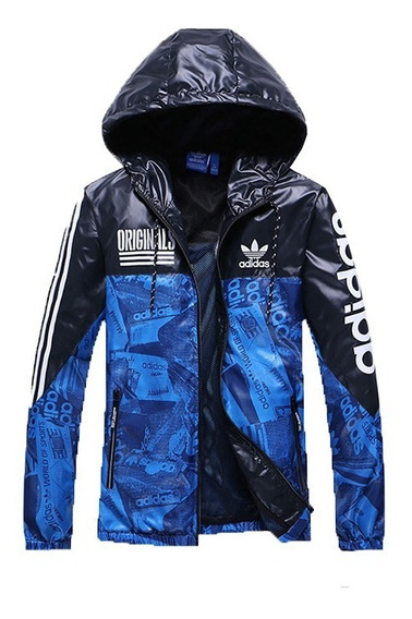 Jaqueta Corta Vento Azul Preta adidas Masculina