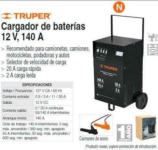 Cargador De Bateria 12 V, 140 A Truper
