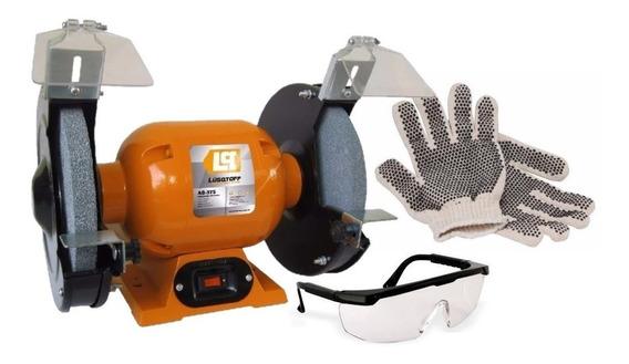 Amoladora De Banco Lusqtoff Ab-375 0,5 Hp + Kit Seguridad + Envio + 2 Piedras Pulidora De Mesa Afilador