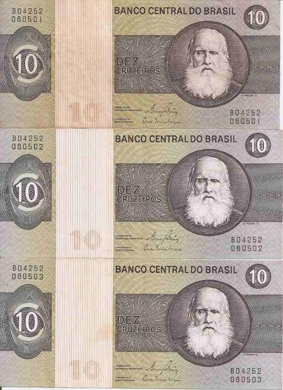 Cédula 10 Cruzeiros Série 3 Notas C M B * S * Série B04252