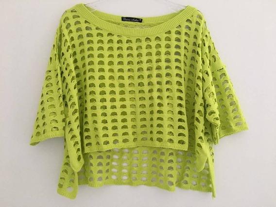 Blusa Cropped Tricot Verde Pistache