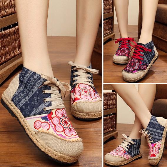 Zapatos De Lino De Algodón De Mujer Vintage Color De