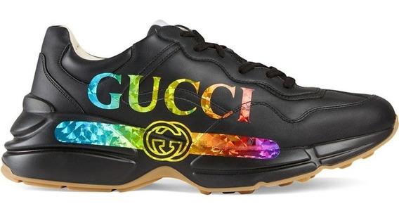 Tênis Gucci Rhynton Couro Preto Logo