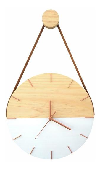 Relógio De Parede Decorativo Moderno Madeira Com Alça Branco