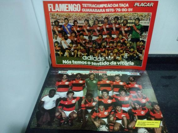 Lote 2 Poster Time Flamengo Decada De 80 C/ Zico Placar Rjhm