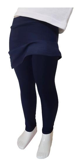 Calza Leggins Con Pollera Azul Escolar Talles 4 Al 16