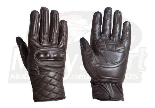 Luva Lumica L-921 Motociclista Couro Marrom Com Proteção +nf