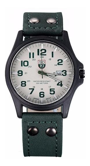 Relógio Masculino Quartzo Pulseira Em Couro Promoção