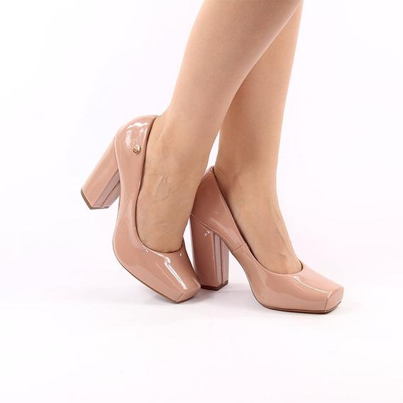 Sapato Feminino - Scarpin Nude - Salto Grosso -bico Quadrado