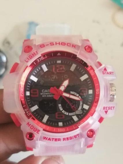 Relógio G-shock - Transparente Com Vermelho E Branco E Rose