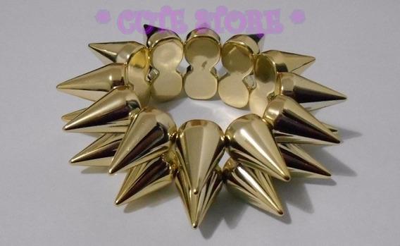 Pulseira Spike Espetos Dourada Duas Fileiras